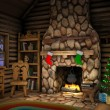 Christmas Cabin Interior - Stock Photo
