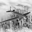DC-3 Over City - Stock Photo