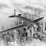 DC-3 Over City — Stock Photo #13484373