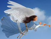 Angel on Blue Sky — Stock Photo