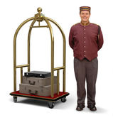 Bellhop with Luggage Cart — Stock Photo
