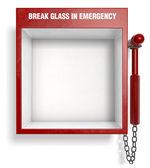 在紧急情况中打碎玻璃 — 图库照片