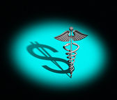 Caduceus Medical Symbol chrome — Stock Photo