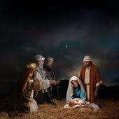 Noel nativity akil adamlar ile — Stok fotoğraf