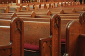 Empty church pews — Stock Photo