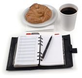 Coffee, danish, planner — Stock Photo