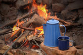 hot dog on a long fork over a fire next to an enamel coffee percolator and mug full of coffee — Stock Photo