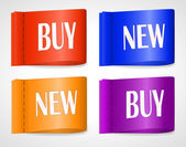 Buy and New vector labels — Stock Vector
