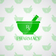Pharmacy background - mortar in green color — Stock Photo #30676571
