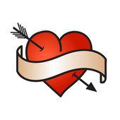 Symbol lásky s mašlí na bílém pozadí — Stock vektor