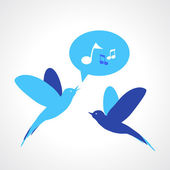 Two blue birds, one singing — Stock Vector