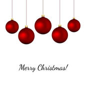 Red baubles on white - christmas vector background — Stock Vector