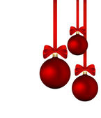 Christmas background - red baubles with red ribbons isolated — Stock Vector