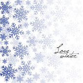Winter background with blue snowflakes on white — Stock Vector