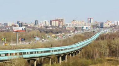 Novosibirsk, Russia, Traffic on the Communal Bridge and Metro Bridge — Stock Video
