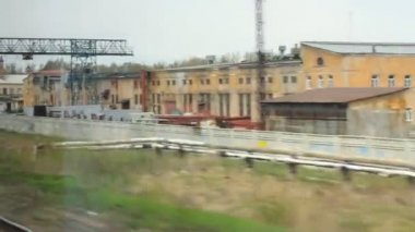 The View from express train window to industrial zones — Video Stock