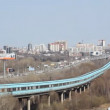 Stock Video: Novosibirsk, Russia, Traffic on Communal Bridge and Subway Tunnel