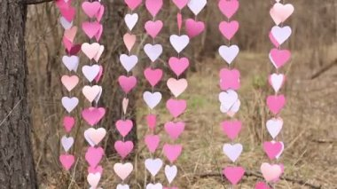 Fluttering in the wind garlands of pink paper hearts for a creative photo shoot — Stock Video