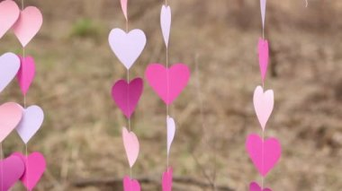 Fluttering in the wind garlands of pink paper hearts for a creative photo shoot, close up — Stock Video