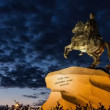 Stock Video: Zoom) Peter Great Statue at night