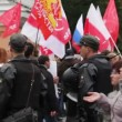 Stock Video: Young police officers along route of protesters, Russia