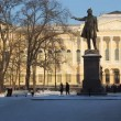 Stock Video: St. Petersburg, RussiMuseum and Pushkin monument in winter