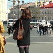 Stock Video: Tourists walking in Palace Square, St. Petersburg, Russia