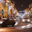 St. Petersburg, Traffic on Nevsky street at night — Stock Video #14818885
