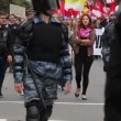 Stock Video: Riot gear escorted convoy of protesters in Russia