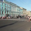 Stock Video: Pedestrians cross Nevsky Street, St. Petersburg, Russia