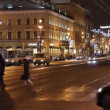 Stock Video: St. Petersburg, Traffic on Nevsky street at night