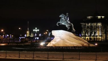 Peter the Great Statue in winter, St. Petersburg, Russia — Stock Video