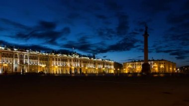 Hermitage Museum in White Nights — Stock Video