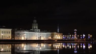 St. Petersburg, The building of the Odditorium at night — Stock Video