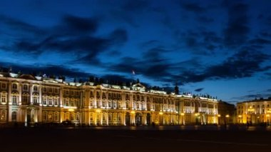 Panorama of Hermitage in White Nights — Stock Video