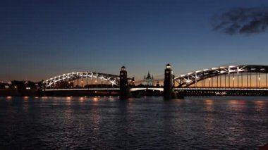 Peter the Great Bridge, St. Petersburg, Russia — Stock Video