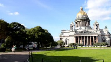 (pan) St. Petersburg, St. Isaac's Cathedral — Stock Video