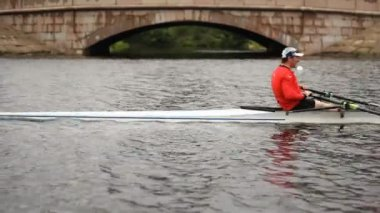 Workout in the Men's pair rowing, Close-up — Stock Video