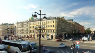 Nevsky street view, St. Petersburg, Russia — Stock Video