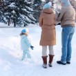 Young family throw up snow in the Air — Stock Video #20665633