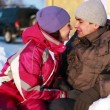 Portrait of Happy Couple in Winter — Vídeo de stock