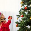 Girl near christmas tree, Merry christmas, happy New Year — Foto Stock