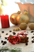 Cinnamon and Christmas decoration — Stock Photo
