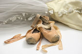 Tutu with ballet shoes — Stock Photo
