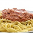 Stock Photo: Pastwith tunand tomato sauce