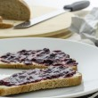 Breakfast with jam sandwich — Stock Photo