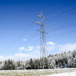 Electric tower in winter — Stockfoto