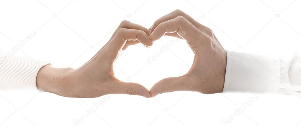 Woman and man making a heart shape. Isolated over white background. — Stock Photo #19275257