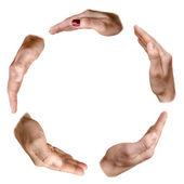 Koło w różnych rękach kobiet i mężczyzn — Zdjęcie stockowe