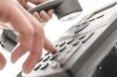 Dialing a phone number closeup — Stock Photo